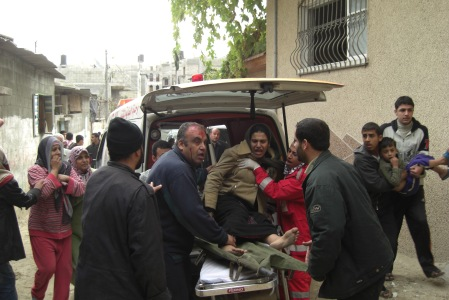 Medic Hassan (who was shot) on duty in Jabalia - photo by Mohammad N