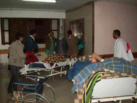 Evacuating bedridden patients from second floor