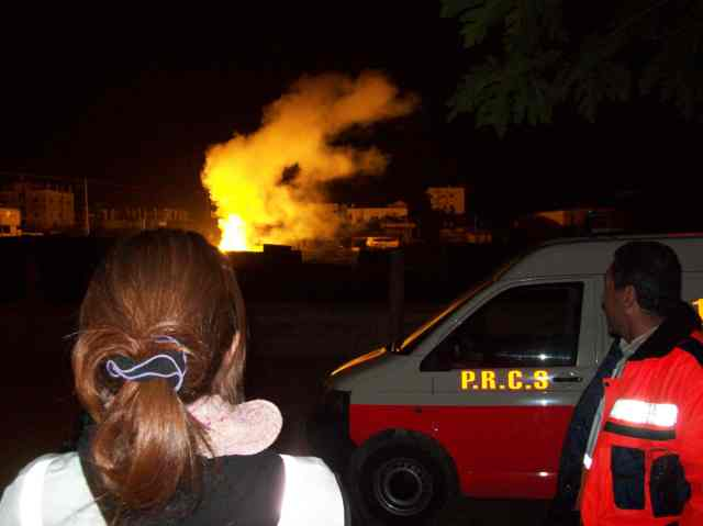 White phosphorous fire beside Jabalia Red Crescent