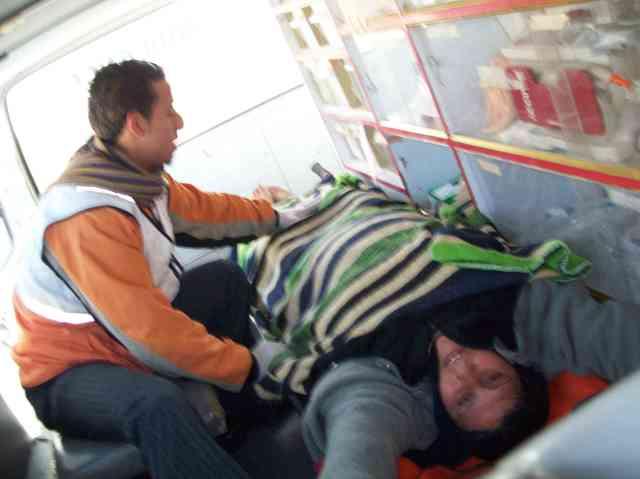 Injured woman having panic attack