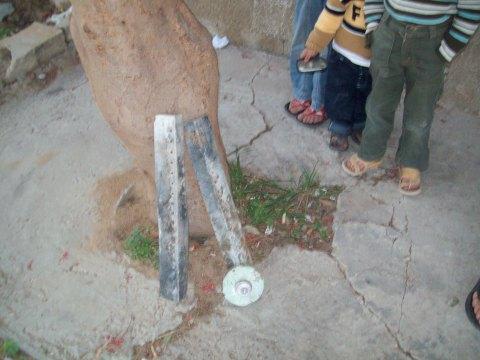 Mazin Al Haddad shows me pieces of phosphorous bombs