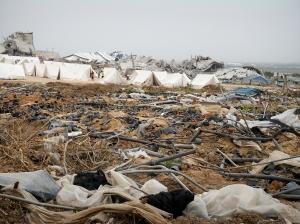 Karama camp - built amongst the devastation of Izbit Abed Rabbo