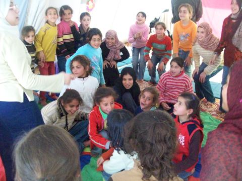 Games in the Girls Tent, FreeGaza Play Space, Samoud Camp