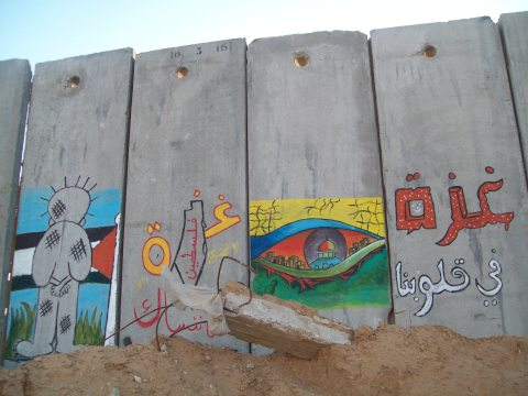 "Today's mural for the over 1,400 dead: ""Gaza in my heart""."