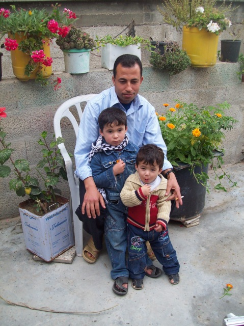 Hassan with his little boys, Khan Younis