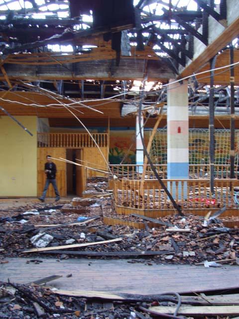Phosphorous fire damage to Social Centre