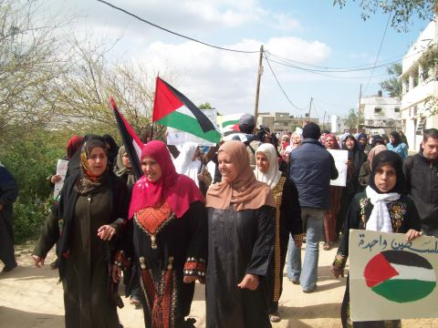 Setting off the Beit Hanoun Land Day march