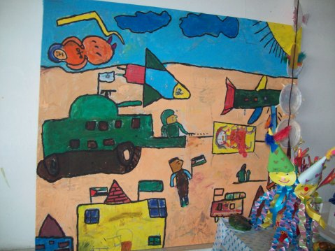 Khan Younis child's picture of Dec/Jan attacks, Al Amal (Hope) Centre