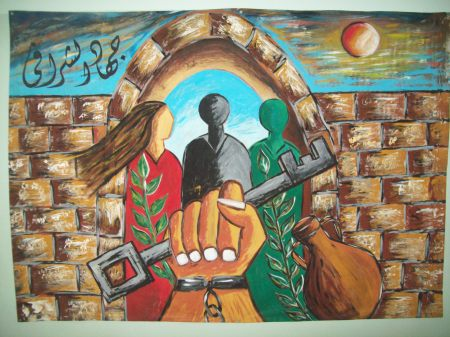 Right to Return mural in Al Assria Centre, Jabalia camp